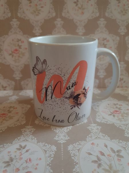 Mum Butterfly And Flowers Personalised Mug
